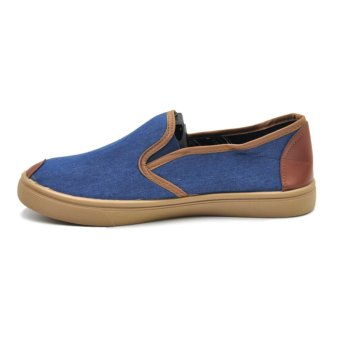 Tanggo Ash High Quality Denim Men's Slip-On Casual Shoes(blue/brown) - 2