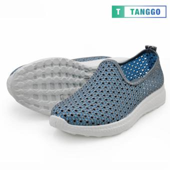 Tanggo Fashion Fly Woven Slip-On Sneakers Shoes for Women 1868(Grey) - 3