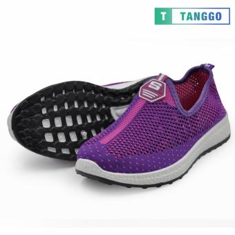 Tanggo Fashion Fly Woven Slip-On Sneakers Shoes for Women 609(Purple/Pink) - 3