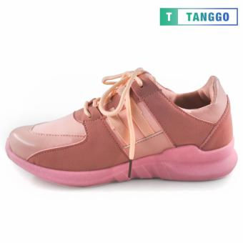 Tanggo PU Leather Mesh Fashion Lace-Up Shoes for Women 6061 (Pink) - 2