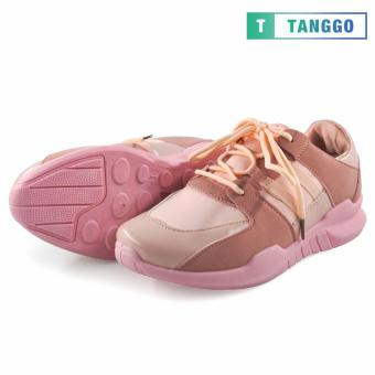 Tanggo PU Leather Mesh Fashion Lace-Up Shoes for Women 6061 (Pink) - 3