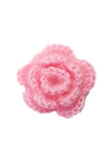 Ten pcs 3-layer Handmade Crochet Flower Appliques Sewing Craft - Pink