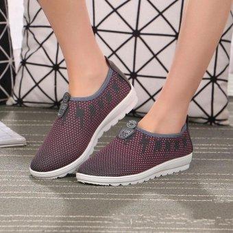 TF Women's sports leisure walking shoes old Beijing cloth shoes(Grey) - intl - 2