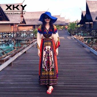 Thailand Bohemian Floral Dresses Maldives vacation Beach Skirt Dresses ethnic boho long dress - intl - 5