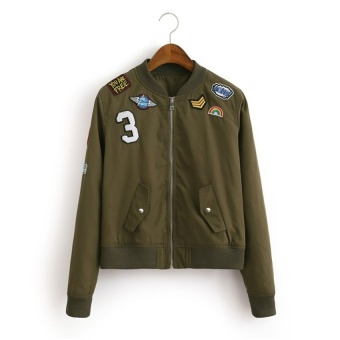 The Fashion Bomber Jacket Coat Flight Suit Casual Jacket WomenEmbroidered Patch Coat M (Army Green) - intl