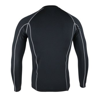 Thermal Warm Up Fleece Compression Cycling Base Layers ShirtsRunning Sets Jersey Sports Suits Clothing Top and Pants (Black) - 3