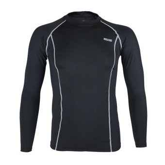 Thermal Warm Up Fleece Compression Cycling Base Layers ShirtsRunning Sets Jersey Sports Suits Clothing Top and Pants (Black) - 2