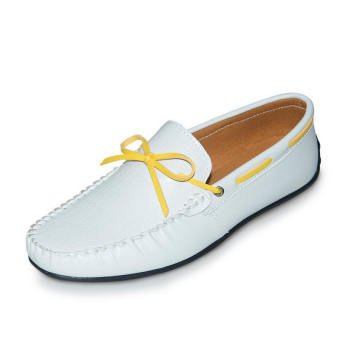 Thin Belt Leather Men's Loafers - White