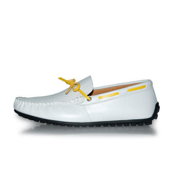 Thin Belt Leather Men's Loafers - White - picture 2