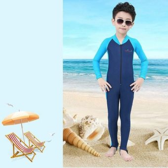 Thin Children Boy Wetsuits Full Body Swimsuit Swimwear FullsuitKids Snorkeling Scuba Diving Wet Suit Spring Summer - navy blue -intl - 2