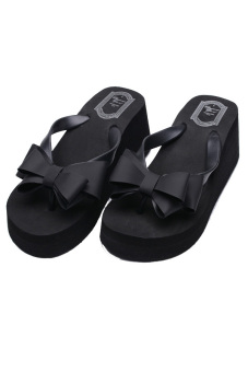 Thong Wedge Bow Knot Flip Flops (Black) - picture 2