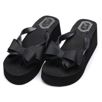 Thong Wedge Bow Knot Flip Flops (Black)