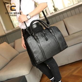 Tidog The new hand woven bag Korean men's casual handbag shoulder business tote bag - intl - 2