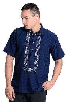 Titan Barong of Lumban Half Open Short Sleeve Polo (Navy