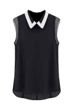 Tops Doll Lapel Blouse Shirt (Black)
