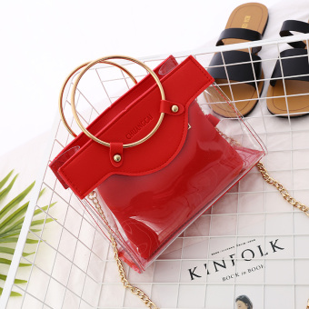 Transparent female spring and summer New style Portable Package bag (Red)