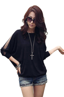 Trendy Long Sleeve Loose Batwing Tops (Black)