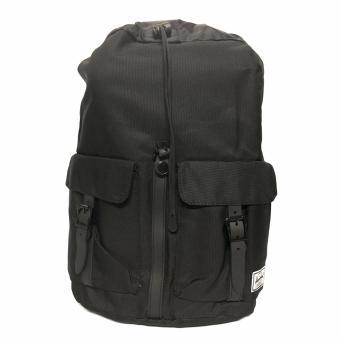 Trendy Travel Sport Waterproof Backpack (Plain Black With White Stripe)