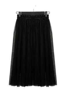 Tulle Chiffon Maxi Skirt (Black)