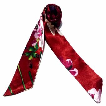 Twilly Silk Scarf And Wraps Bag Accessory Floral Print Design(Maroon) - 2