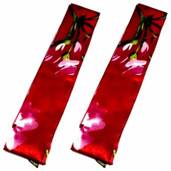 Twilly Silk Scarf And Wraps Bag Accessory Floral Print Design(Maroon) - 3