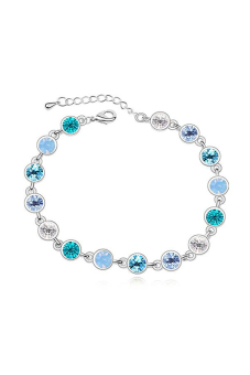 Ufengke UF-JQB060-3 Round Crystal Tennis Bracelet (Blue)