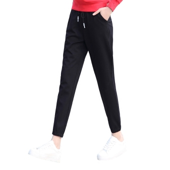 Ulzzang female thin ankle-length pants spring sports pants (Black)