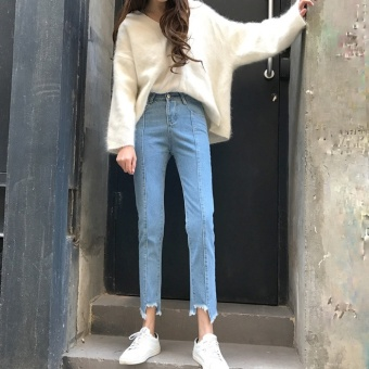 Ulzzang high-waisted irregular raw-cut gap straight-leg pants