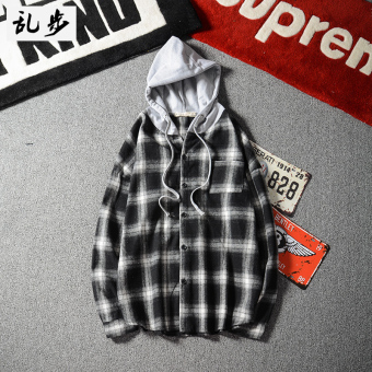 Ulzzang Korean-style autumn men's hooded couple's clothes long-sleeved shirt (619 hooded shirt black)
