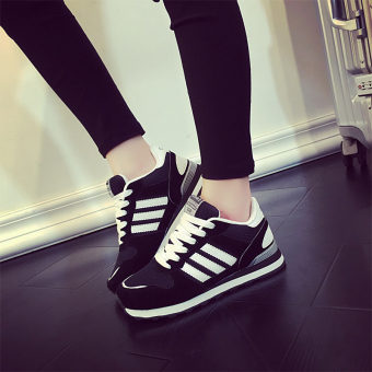 Ulzzang Korean-style black female autumn breathable running shoes athletic shoes (Black 6143 three bar)
