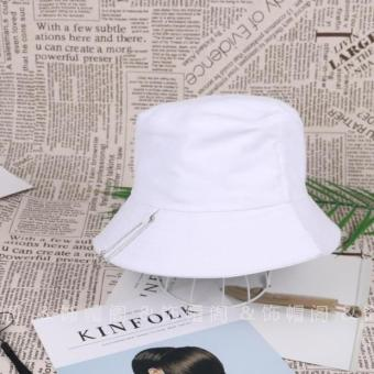 Ulzzang Korean-style female spring and autumn days visor bucket hat (White)
