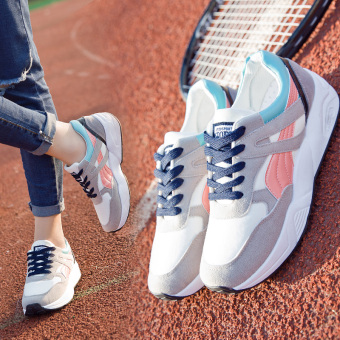 Ulzzang Korean-style Plus velvet female winter versatile casual shoes athletic shoes (Gray pink)