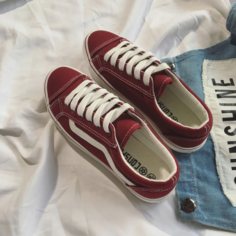 Ulzzang Korean version of student flat style shoes canvas shoes (Wine red color)