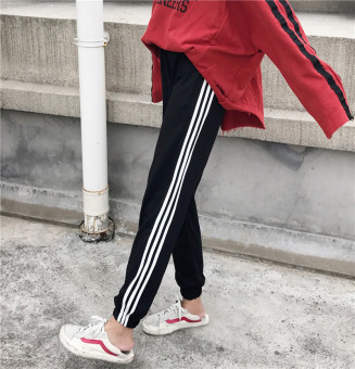Ulzzang Korean version women contrasting color sweatpants athletic pants (Black)