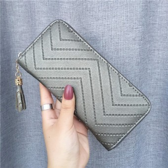 Ulzzang Shishang female Japanese and Korean style big capacity clutch bag New style women's wallet (Silver)