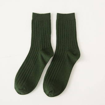 Ulzzang simple cotton solid color autumn men's socks tube socks (Dark green color) (Dark green color)