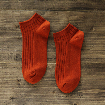 Ulzzang solid color short tube socks men's socks (Orange)