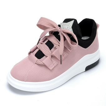 Ulzzang versatile black female spring casual shoes athletic shoes (Pink color)