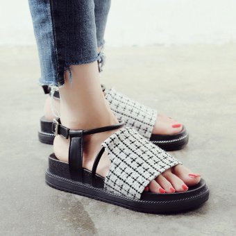 Ulzzang versatile New style A-line buckle sandals (White)