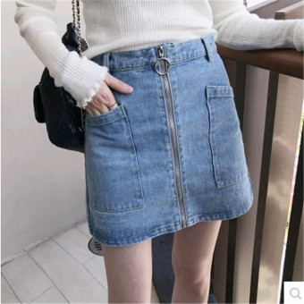 Ulzzang versatile student female word half-length skirt cowboy skirt (Light blue)