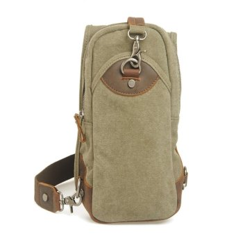 Unisex Canvas Cross Body Chest Pack Body Bag Travel Bag (Army Green)