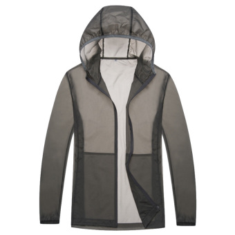 Unisex Lightweight UV Protection Skin Jacket Breathable Quick DryJackets(Grey) - intl