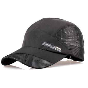 Unisex Mesh Quick Dry Adjustable Sport Snapback Cap Black