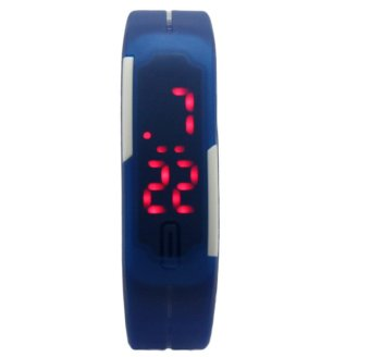 Unisex Navy Blue Rubber Strap Digital Watch