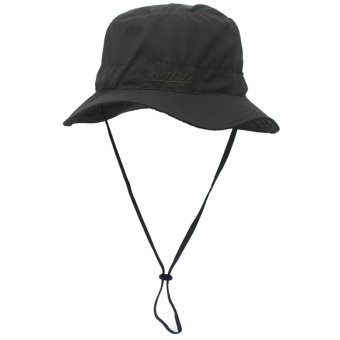 Unisex Stylish Wide Brim Summer Outdoor Fishing Bucket Sun Hat CapSun Block Quickly Dry Foldable with Inside Pouch for Beach HikingCamping Traveling Black - intl
