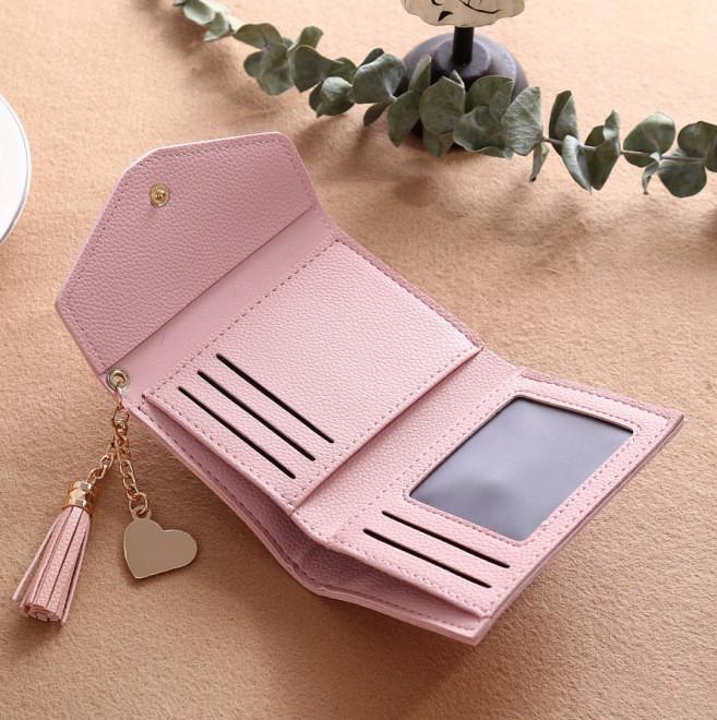 uniwood Fashion Ladies Purse Tassel Pendant Litchi Pattern MoneyWallet Card Purse Wallet-Light powder ...
