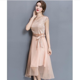 UR Large size dress Midi evening dress Gold - intl - 4