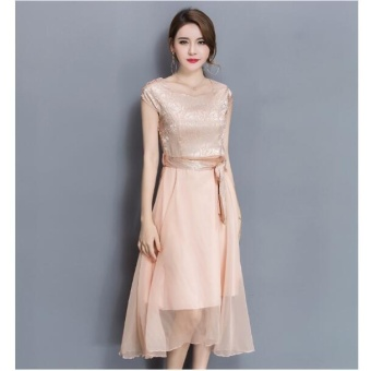 UR Large size dress Midi evening dress Gold - intl - 3
