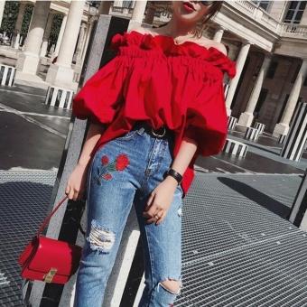 UR One word shoulder shirt coat dress Red - intl - 2