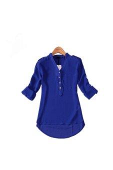 V-Neck Long Sleeve Shirt (Blue)